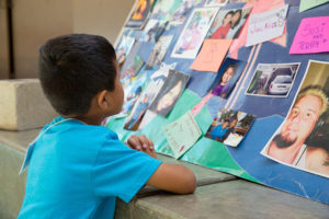 kid looking at collage image