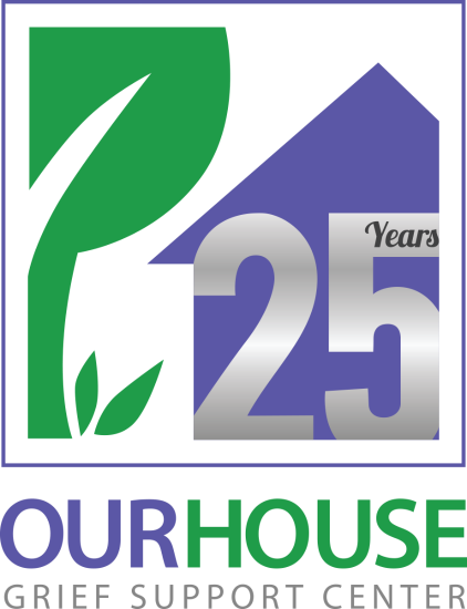 our house grief support center 25 year anniversary logo