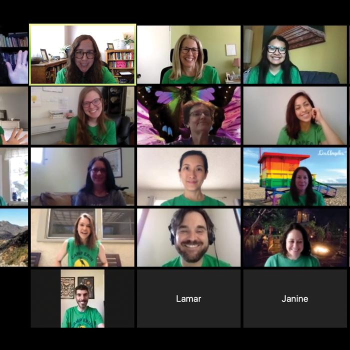 Screenshot of volunteers on a zoom meeting